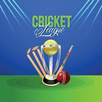 Cricket live championship match with golden trophy vector