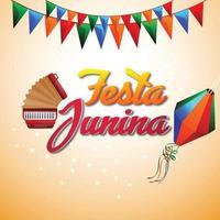 bandera de fiesta colorida ilustración vectorial con linterna de papel vector