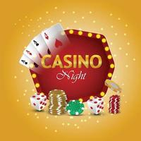 Casino luxury vip casino roulette with casino chips with gold coin and poker dice vector