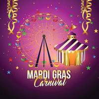 Mardi gras celebration background with creative fair Giant Ferris Wheel and background vector