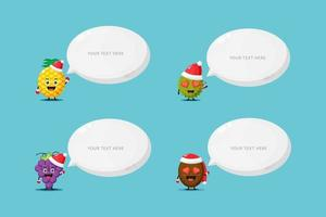 Cute fruit mascot wearing Christmas hat with speech bubble vector
