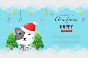 Cute cat wearing a Christmas hat. Merry Christmas banner design template vector