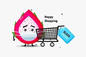 Cute Dragon fruit mascot shopping using medical masks vector
