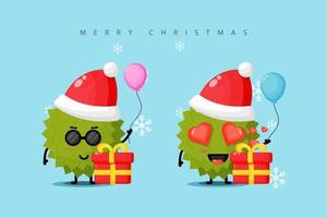 Cute durian mascot celebrating Christmas day vector