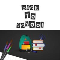 Back to school background with school bag, books and brush vector