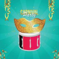 Carnival party invitation card with golden mask vector