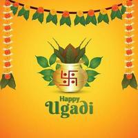illustation de gudi padwa tarjeta de felicitación realista con kalash tradicional vector