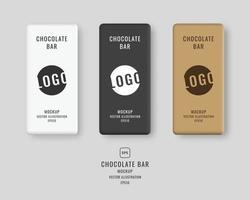 Chocolate bar mockup set. Packaging mockup template. Vector illustration.
