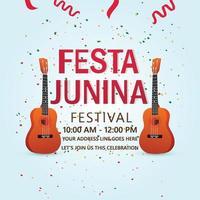 Festa junina invitation cards with guitar vector