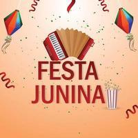 Ilustración de vector de festa junina con guitarra, bandera de fiesta colorida y linterna de papel