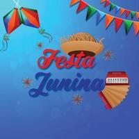 tarjetas de invitación de festa junina con guitarra y sombrero vector