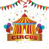 Circus tent house with creative vector ballon and background