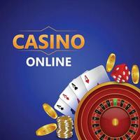 Casino online game with luxury slot machine and playing cards vector