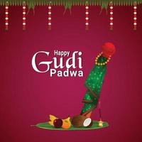 feliz ilustración de ugadi con kalash dorado y puja thali y flor de guirnalda vector
