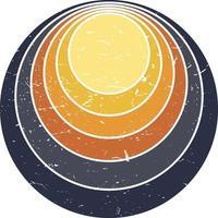 Fondo de ilustración de vector de puesta de sol retro puesta de sol vintage