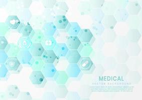 Abstract blue hexagon pattern background. Medical and science concept and health care icon pattern.
