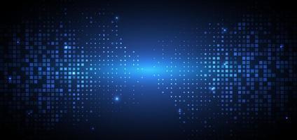 tecnología abstracta concepto digital futurista patrón cuadrado con iluminación de partículas brillantes elementos cuadrados sobre fondo azul oscuro. vector