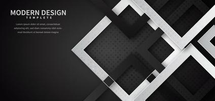 Abstract black and white geometric square shape overlapping with dot decoration and shadow background. vector