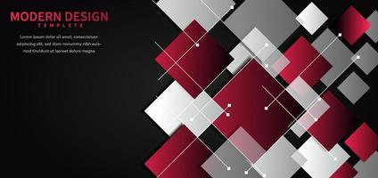 Abstract geometric background with square shape red and grey overlapping on black background. vector