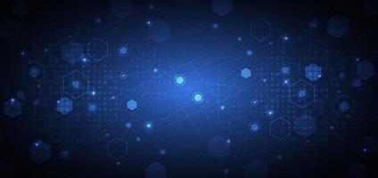 Fondo azul abstracto del modelo del hexágono. medicina y ciencia, concepto de conexión tecnológica. vector