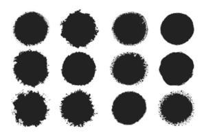 colección de marcos de círculo de grunge negro vector