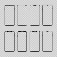 Smartphone frames template on transparent background vector