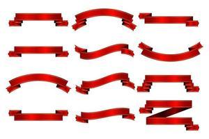Colección de cintas rojas aislado sobre fondo blanco. vector