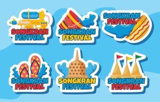 Songkran Festival Stickers vector