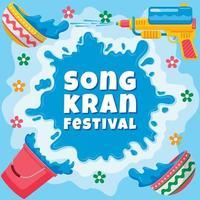 concepto de festival de songkran con salpicaduras de agua vector