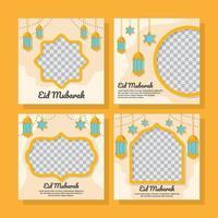 Flat Eid Mubarak Social Media Post vector