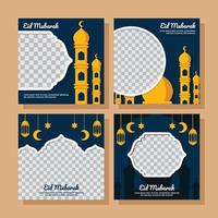 Flat Eid Mubarak Social Media Post vector