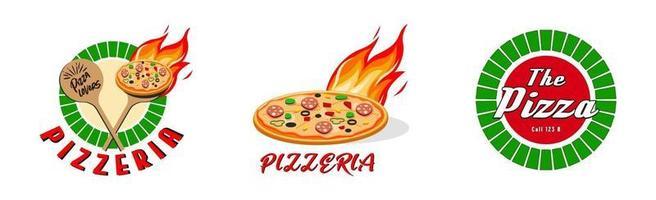 Pizzeria, fast food logo or label. Menu design for cafe and restaurant. Free Vector illustration.