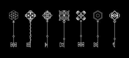 Modern key collection. Retro key vector logo design template. Free Vector.