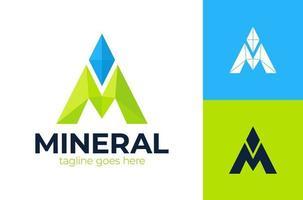 Letra m logotipo de mineral de espacio negativo. línea pin diamante triángulo logotipo vector