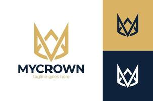 Letter M Crown logo king vector royal icon. Queen logotype symbol luxury design.
