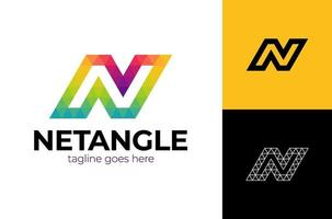 colorful letter N logo design for business company visual identity in low poly art style with trendy vector