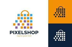 vector de diseño de logotipo de mercado de tienda de píxeles, diseños de logotipos de bolsas de compras, concepto abstracto para tienda en línea