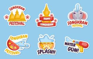 Songkran Festival Sticker Collection vector