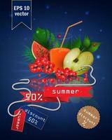 Summer sale illustration with fruit and juice vector