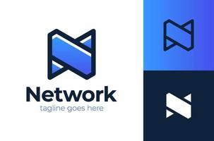 Red n logo diseño de letra n moderno y sencillo. logotipo, sello e icono de telecomunicaciones. tecnología y conexión digital abstracta. vector