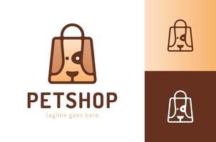 bolsa de compras con perro logotipo de la tienda de mascotas símbolo vectorial logotipo de la tienda de mascotas etiquetas de icono de animales modernos para tiendas y bolsas, clínicas veterinarias, hospitales fondo de ilustración plana con cabeza de perro vector
