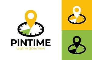 Pin Time Logo Template Design. Vector clock and map pointer logotype combination. Time and gps locator symbol or icon. Unique express and pin logotype design template.