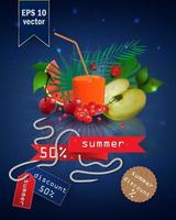 ilustración de venta de verano con fruta y jugo vector