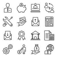 paquete de iconos lineales de negocios vector