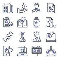 paquete de iconos planos médicos vector