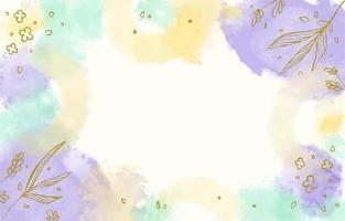 Fondo de acuarela de colores con acento de follaje vector