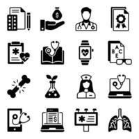 paquete de iconos médicos sólidos vector