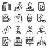 paquete de iconos lineales médicos vector