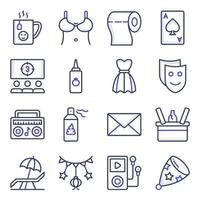 Pack of Party and Celebration Flat Icons vector