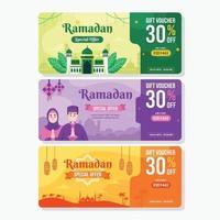 Colorful Voucher Design For Ramadan Sale vector